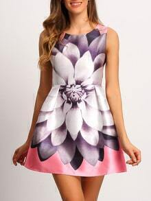 Multicolor Crew Neck Sleeveless Floral Dress
