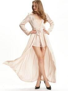 Champagne Long Sleeve Fabric Tie Waist Dress
