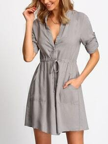 Grey V Neck Drawstring Waist Pockets Dress