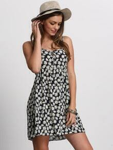 Navy White Spaghetti Strap Daisy Print Dress