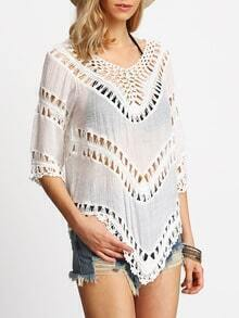 White Half Sleeve Hollow Loose Blouse