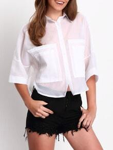 White Short Sleeve Pockets Sheer Blouse