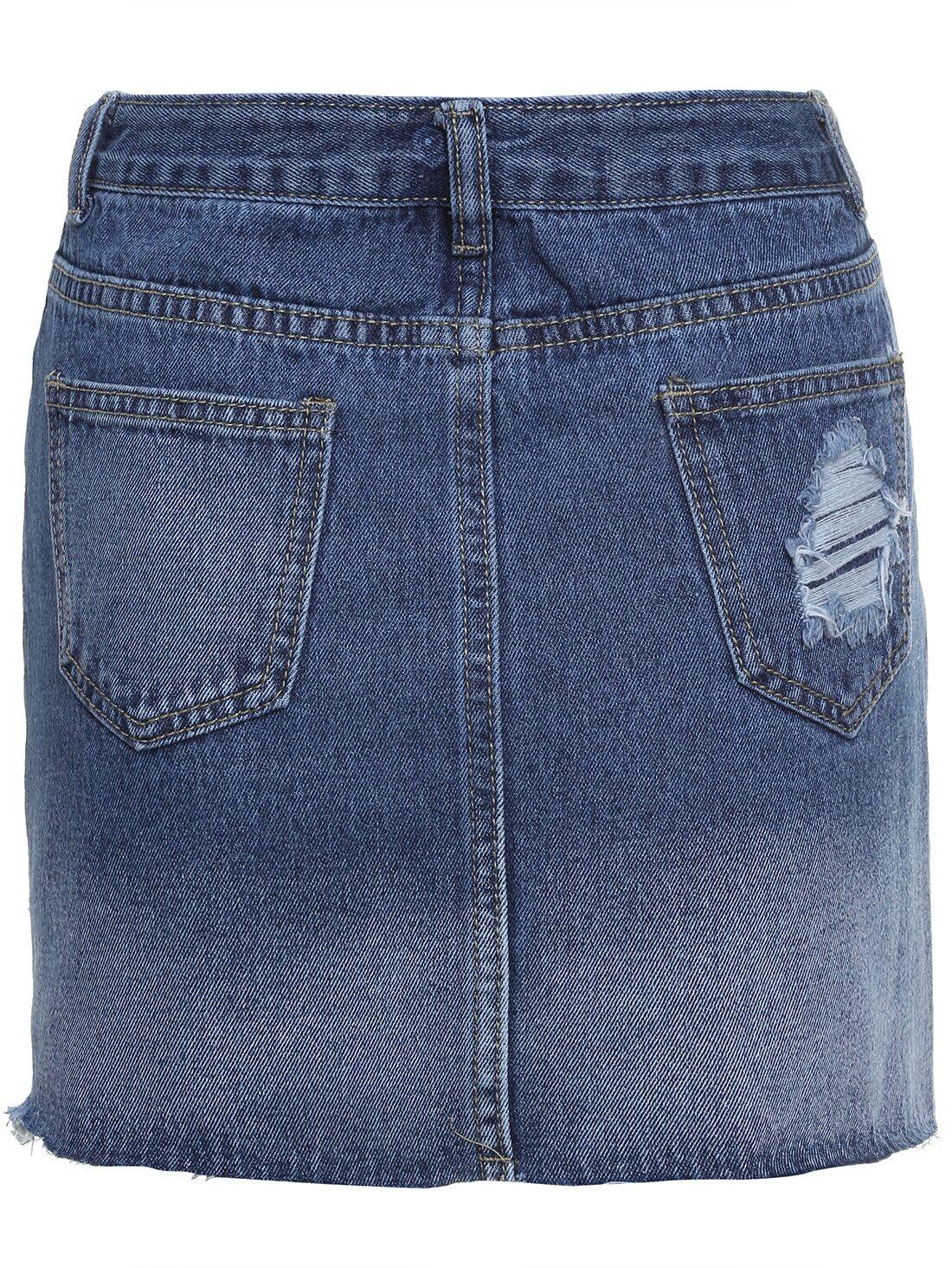 blue bleached ripped denim skirt shein sheinside