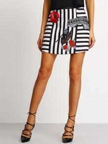 Black White Striped Floral Skirt