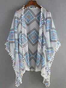 Blue White Geometric Print Peplum Trims Cape