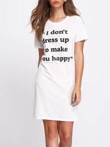 White Letter Print T-shirt Dress
