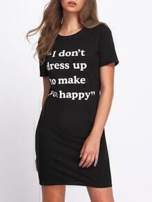 Black Letter Print T-shirt Dress