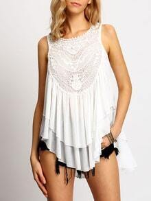 White Crochet Lace Ruched Front Cami Top