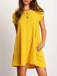 Yellow Short Sleeve Pockets Dress