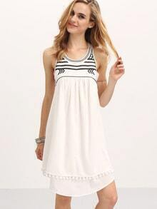 Cream Pompom Dual Hem Pleated Shift Dress