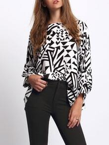 Black Lantern Sleeve Geometric Pattern Blouse