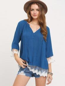 Blue Split Round Neck Crochet Lace Blouse