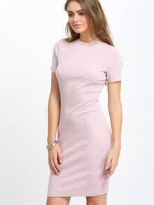 Nude Short Sleeve Mock Neck Bodycon Dress