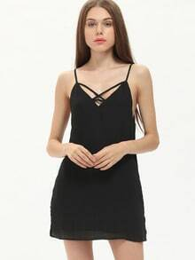 Black Spaghetti Strap Lace Up Back Dress