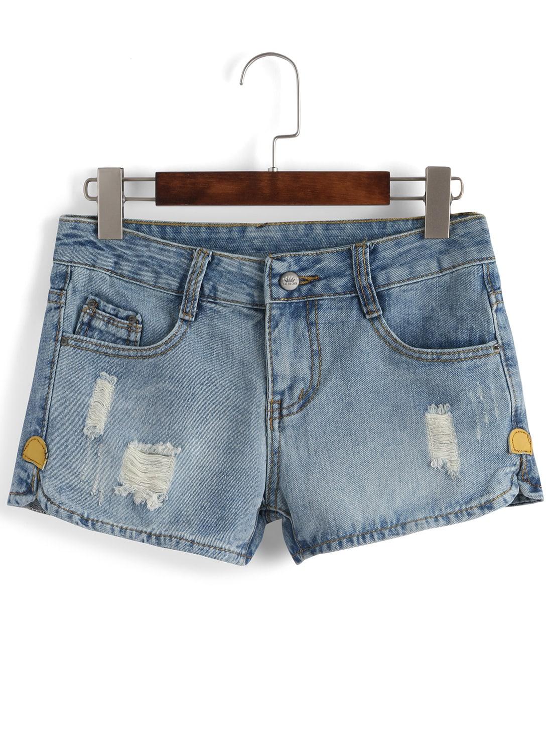 Ripped Denim Blue Shorts -SheIn(Sheinside)