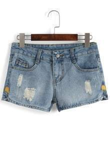 Ripped Denim Blue Shorts