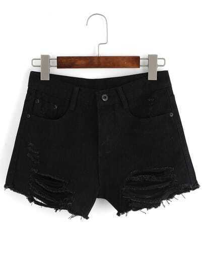 ripped frayed denim black shorts sheinsheinside