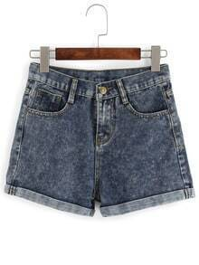 Cuffed Snowflake Denim Shorts