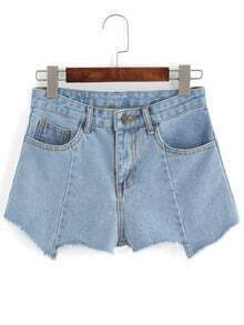 Asymmetrical Denim Blue Shorts