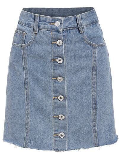 Single Breasted Frayed Denim Skirt