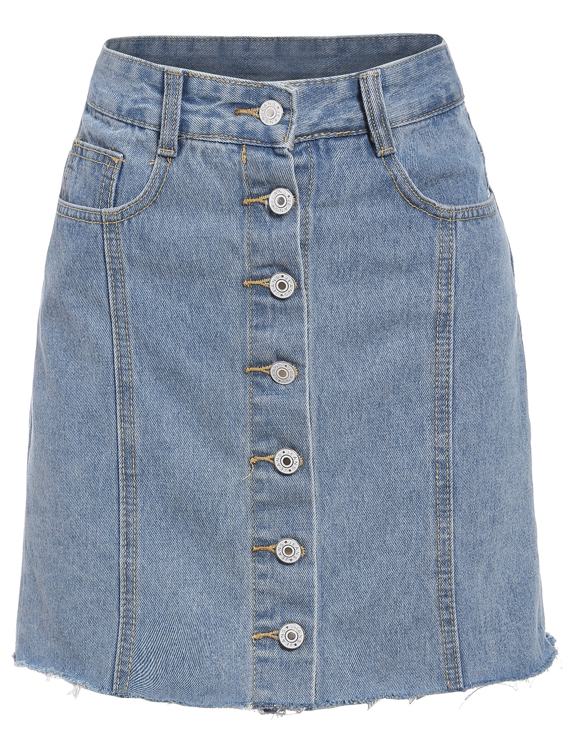 single breasted frayed denim skirt sheinsheinside
