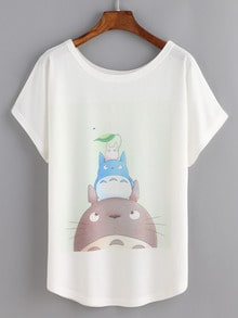 Cartoon Print White T-shirt