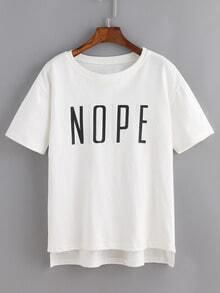 Dip Hem Letters Print T-shirt