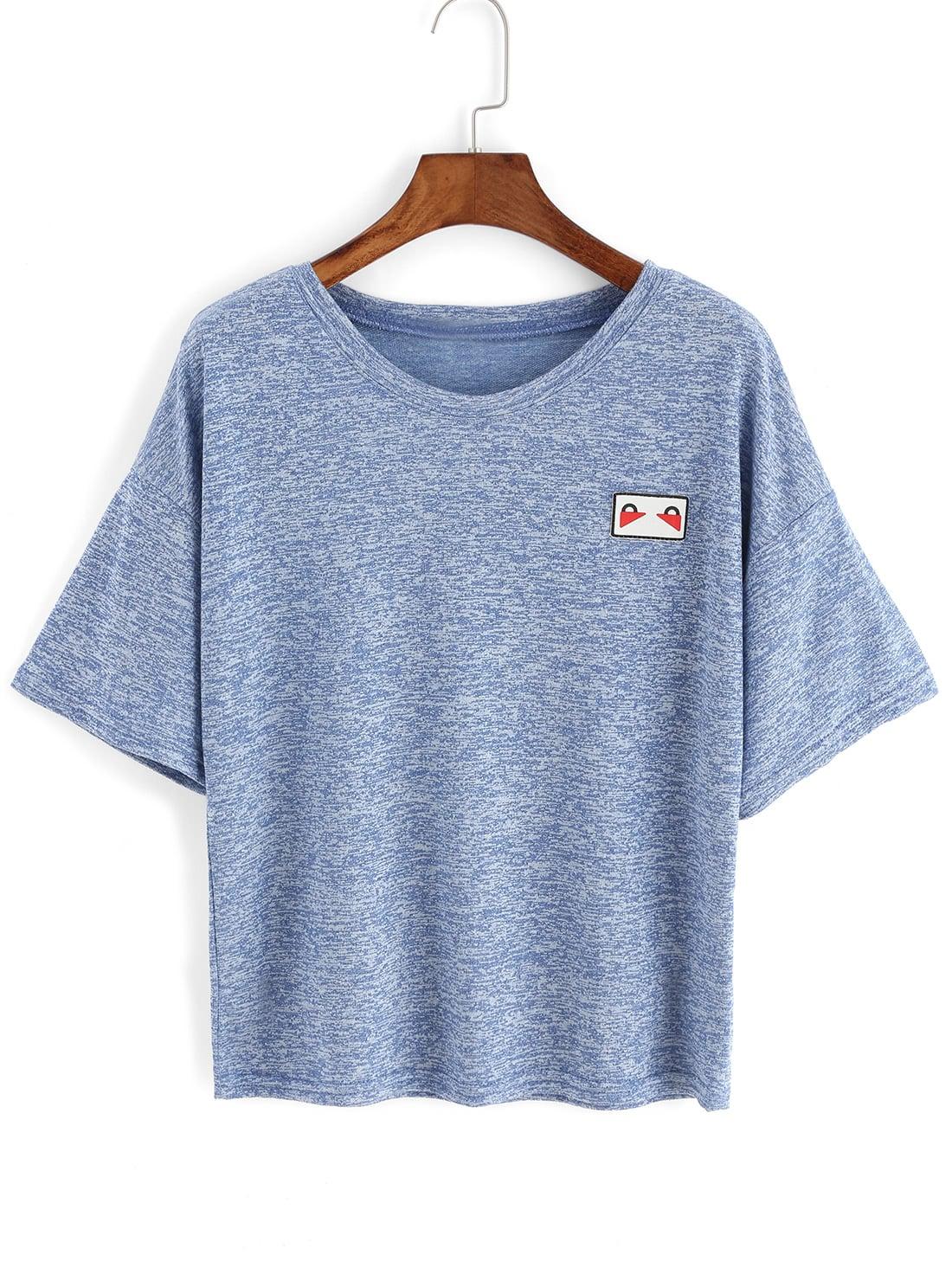 Heather Blue Patch T-shirt heather blue slogan print t shirt