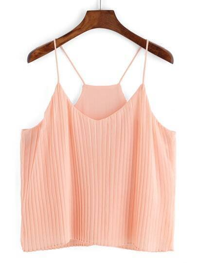 Spaghetti Strap Chiffon Pleated Pink Cami Top