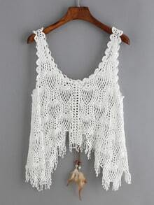 Crochet Hollow Lace Up Asymmetrical Tank Top
