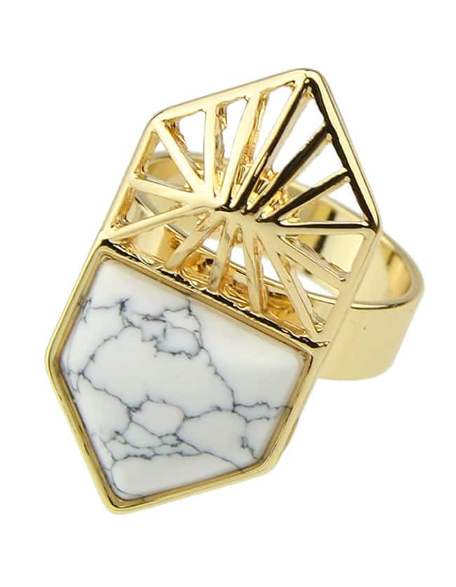 White Turquoise Women Rings