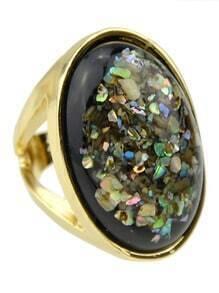 Gold Plated Gemstone Big Ring