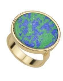 Bluegreen Round Shape Stone Rings