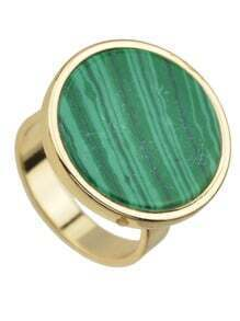 Green Round Shape Stone Rings