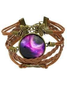 Purple Pu Leather Chain Bracelets