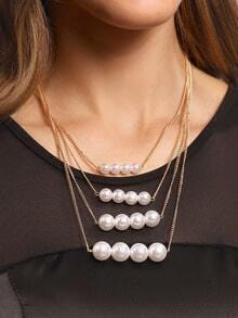 Pearl Row Link Necklace