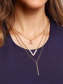 Crystal And Metal Bar Pendant Row Link Necklace
