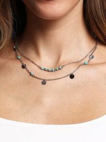 Silver-tone Turquoise&Pailette Wrap Link Necklace