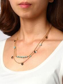 Gold-tone Turquoise&Pailette Wrap Link Necklace
