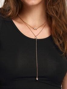 Rhinestone Pendant Wrap Link Necklace