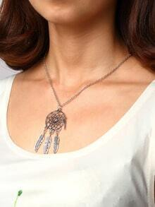 Cut Out Circle Pendant With Carved Feather Necklace