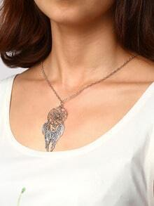 Cut Out Circle Pendant With Carved Wing Necklace