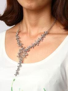 Silver-tone Crystal Pave Petal Pendant Link Necklace