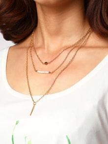 Collana avvolgere ciondolo bar strass metallo perla