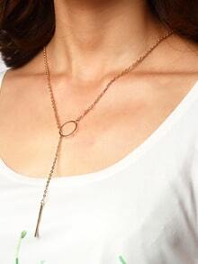 Gold-tone Ring And Metal Bar Pendant Link Necklace