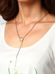 Silver-tone Ring And Metal Bar Pendant Link Necklace