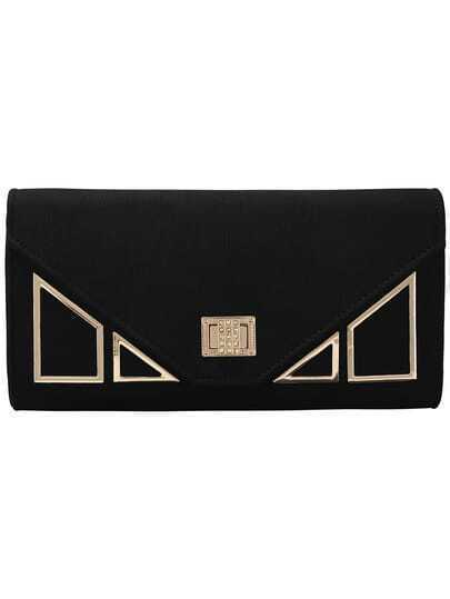 Black Crystal Turn Lock Clutch Bag With Adjustable Chain