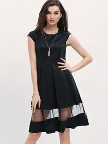 Mesh Insert Hem Pleated Dress