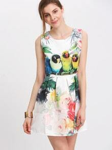 Parrot And Flower Print Sleeveless A-line Jacquard Dress