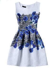 Blue Rose Print Sleeveless A-line Jacquard Dress